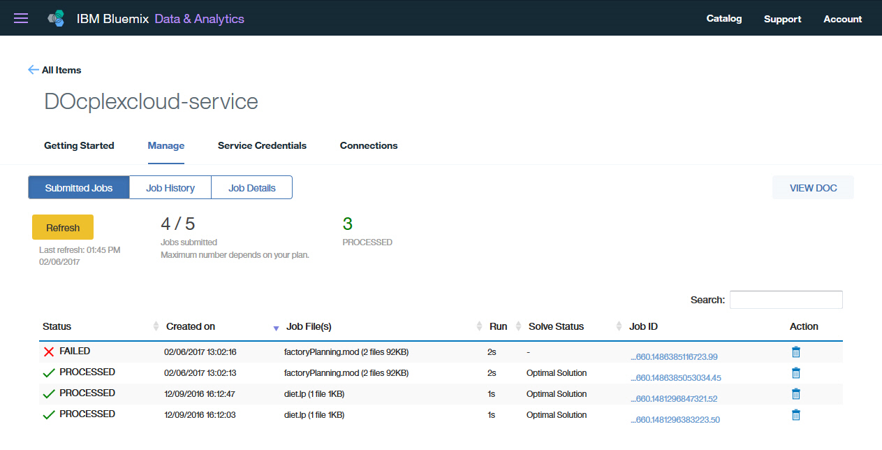 Monitor your submitted jobs using the service dashboard